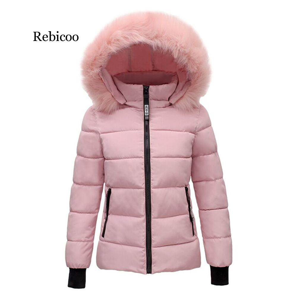 Women Faux Fur Collar Coat Down Cotton Jacket Fall Winter Thicken Warm Minimalist Hooded Outdoor Windproof Casual Coat