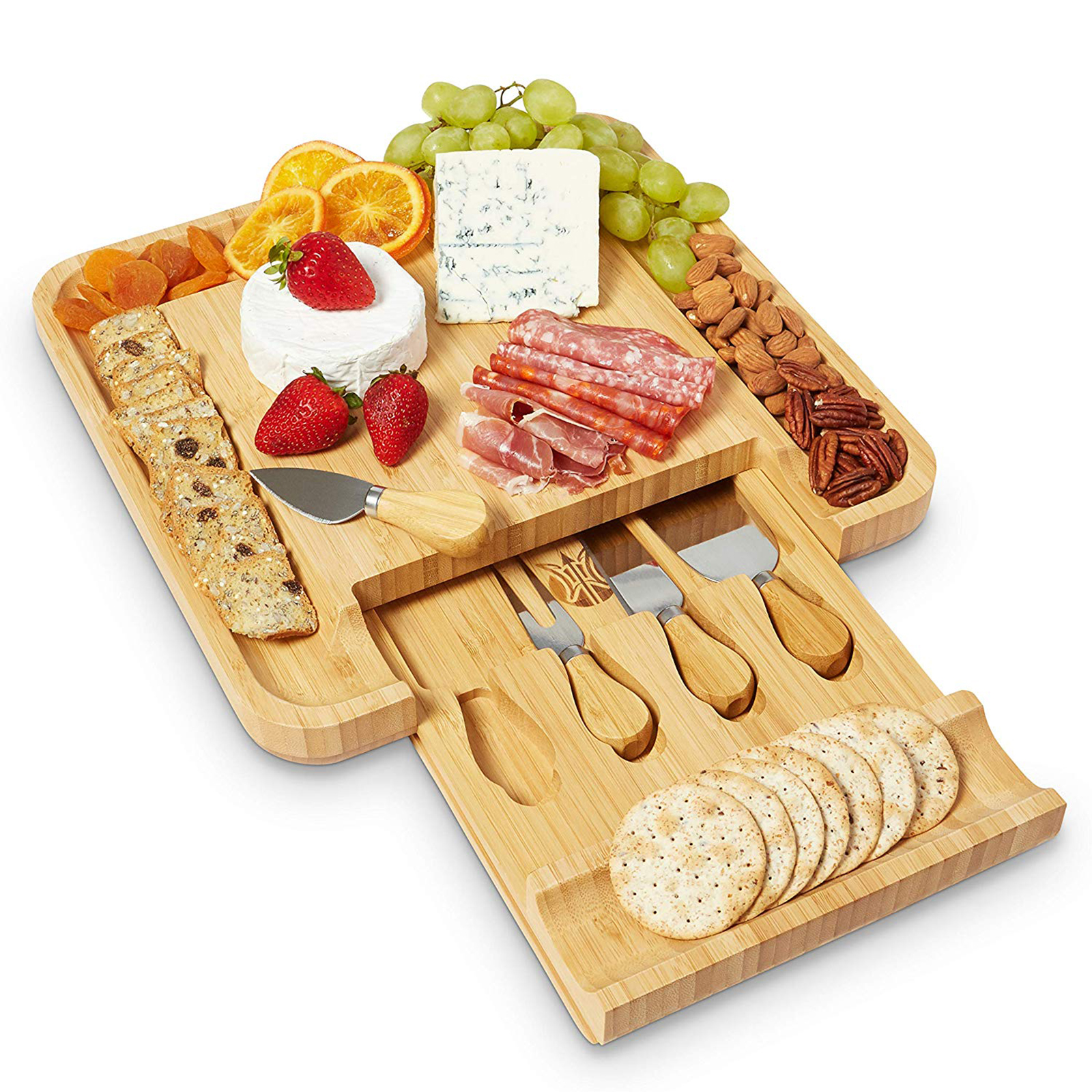 Wood Bamboo Cheese Cutter Knife Slicer Sets Kit Kitchen Board Charcuterie Platter & Serving Tray For Wine Crackers Useful Tools