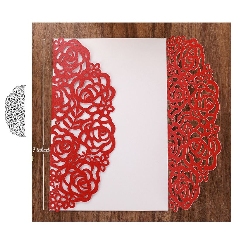 Wedding Invitations Rose Border Dies Metal Cutting Dies New 2019 for Scrapbooking Party Greeting Cards Making Craft die cut in Cutting Dies from Home Garden