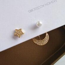 New Asymmetrical Star Moon Earrings Women Fashion Korean Temperament Pearl Stud Earrings  Personality Party Jewelry Girl Gifts 2020 new korean vintage star and moon rhinestone bracelet for women gold pearl girl bracelet gifts fashion jewelry accessory