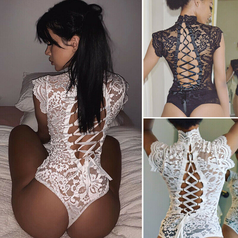 Women's Sexy Full Lace See-through Halter Jumpsuit Cheongsam High Turtleneck Backless Hollow Out Nightwear Erotic Bodysuits