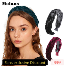 MOLANS Braided Padded Headband Solid Velvet Hair Band Womens Fashion Hoop Retro Headwear New Arrival Accessories