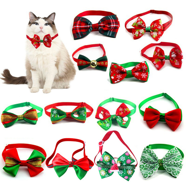 Christmas Adjustable Cat Dog Collar Holiday Cats Dog Bow Tie 2