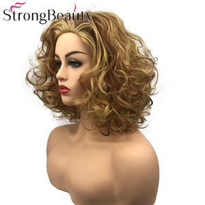Image 2 - StrongBeauty מתולתל נשים פאה קצר סינטטי עמיד בחום פאות נשים יומי או קוספליי שיער