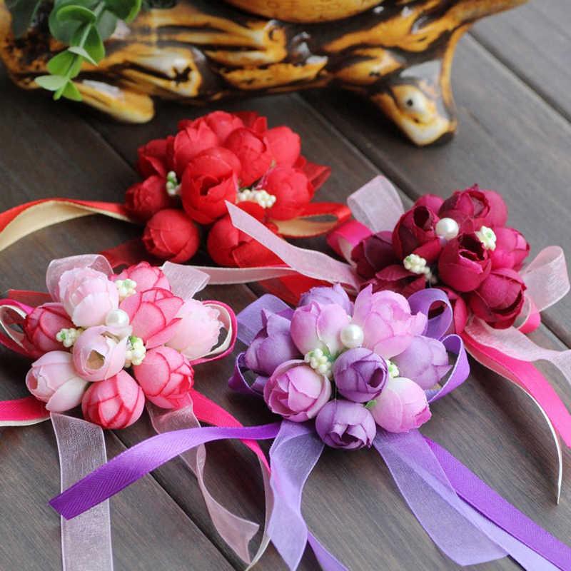 งานแต่งงานสร้อยข้อมือ Corsage ข้อมือดอกไม้มือและ Boutonnieres Silk Rose ดอกไม้ Blue Bouquet อุปกรณ์เสริม