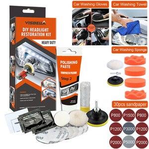 Image 1 - 자동차 헤드 라이트 폴리 셔 복원 장치 헤드 라이트 복구 키트 용 폴란드어 자동 헤드 램프 용 와셔 화학 연마 키트 왁스