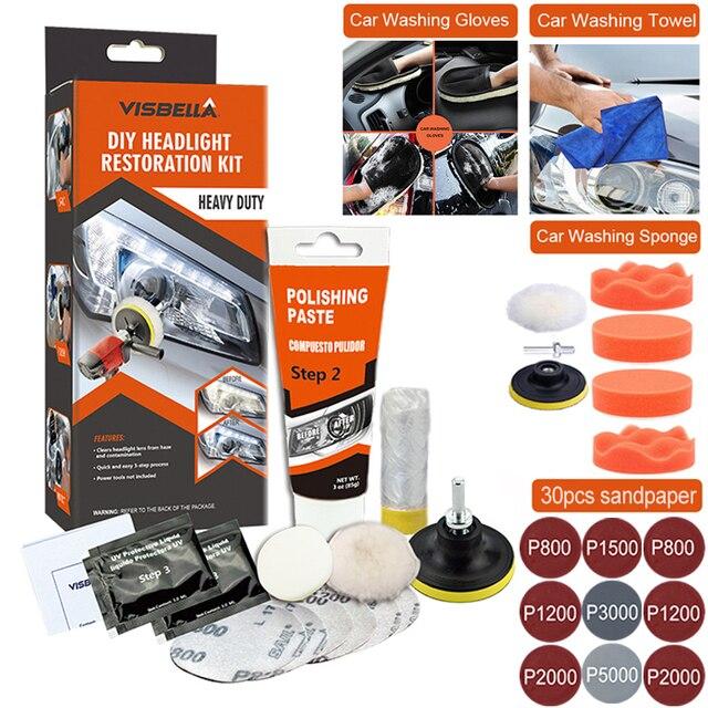 자동차 헤드 라이트 폴리 셔 복원 장치 헤드 라이트 복구 키트 용 폴란드어 자동 헤드 램프 용 와셔 화학 연마 키트 왁스