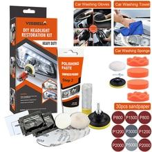 Polisseuse de phares de voiture, Kit de restauration, lavage, polissage chimique, cire pour phares automobiles