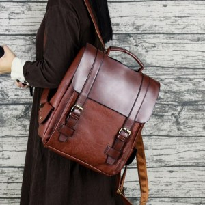 Image 2 - Fashion Women Backpack PU Leather School Bag Vintage Large Schoolbag For Teenage Girls Brown Black Backpacks Men Rucksack XA30H