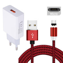 Magnetische Micro Usb Charger Cable Voor Samsung Galaxy S4 S5 J7 J4 J3 J6 A6 A10 Honor 7A 8X Android telefoon 5V 2A Usb Charger Adapter(China)