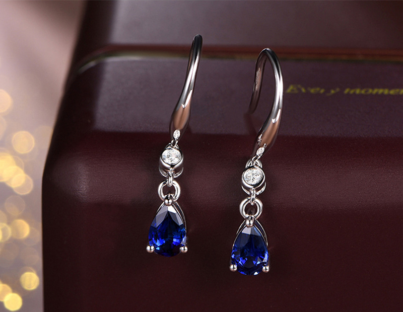 H972ebdace6e746cba65eb5ddd546e762y - Jellystory Trendy Silver 925 jewelry Earring with Water Drop Shaped Sapphire Gemstones Earrings for Women Weddings Party Gifts