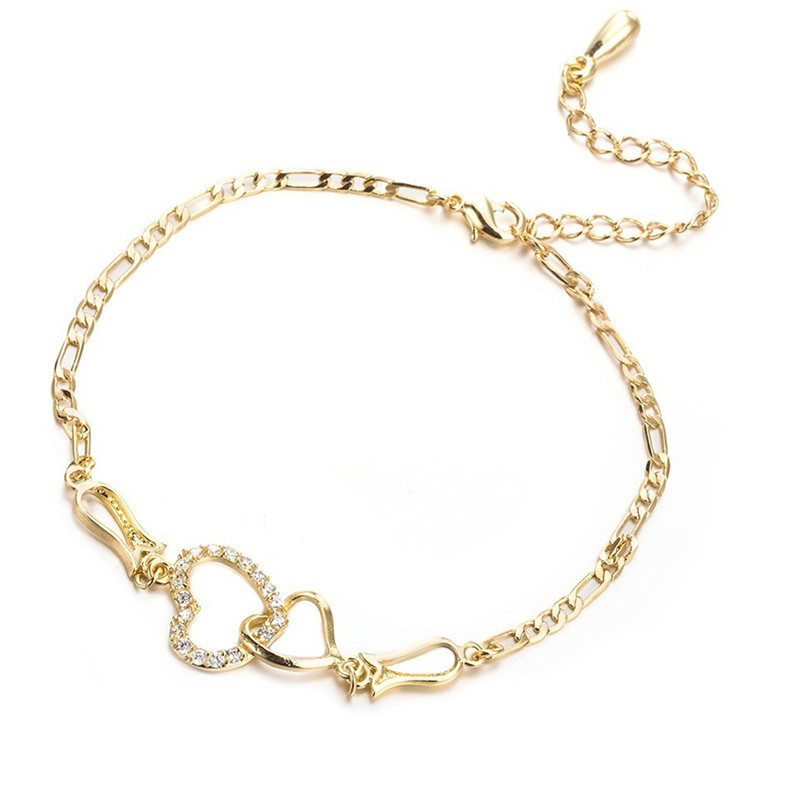 DoreenBeads Anklet Heart Cubic Zirconia Gold Silver Color On Foot Ankle Bracelets For Trendy Women Leg Jewelry 25cm Long, 1 PC