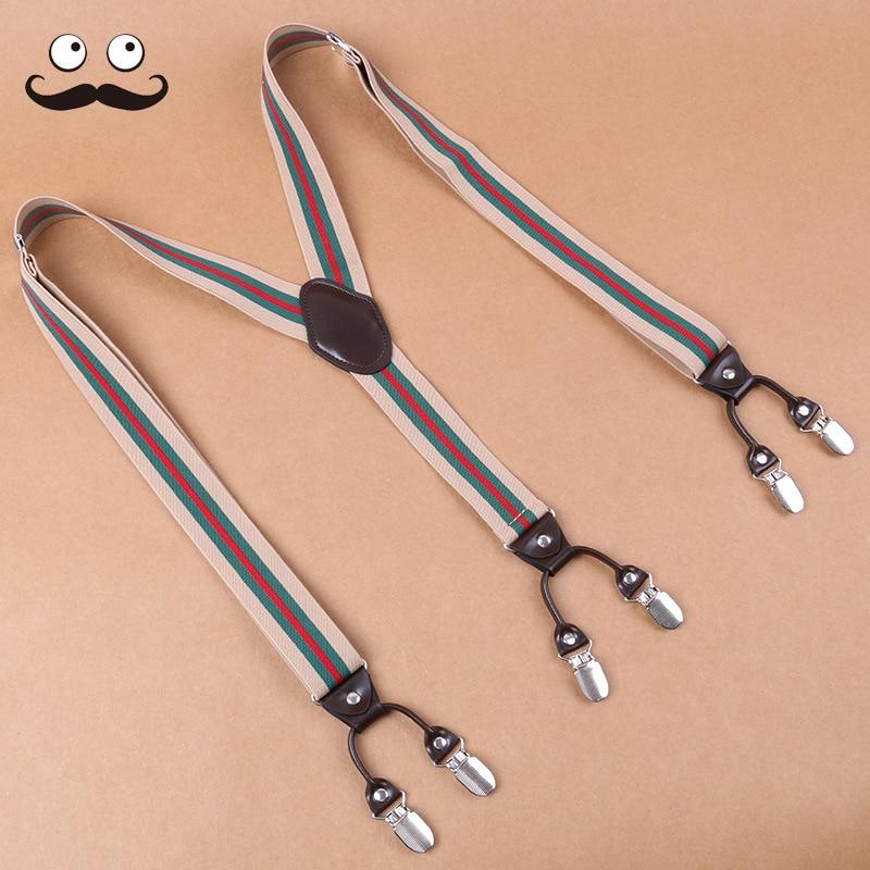 Men Suspender Strap Clip Elasticity Business Suit Pants Shirt Strap Clip 6 Clip England Stripes Suspender Strap