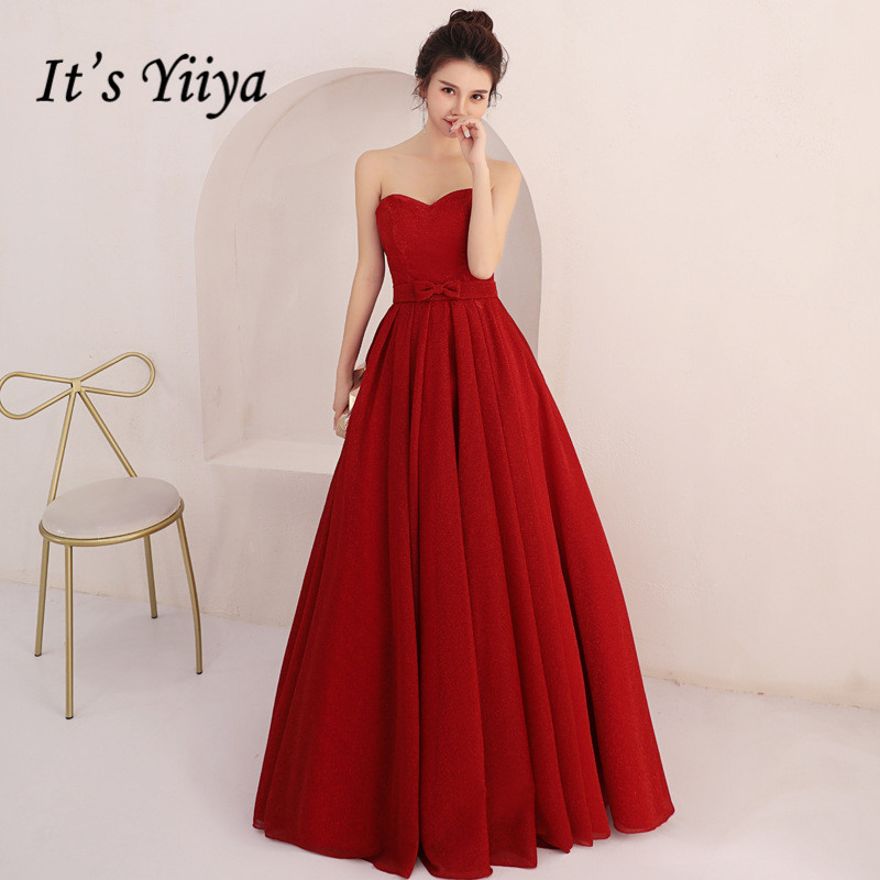 It's Yiiya Burgundy Evening Gowns Strapless Long Formal Party Dresses Plus Size Wedding Guest Dresses Vestidos Elegantes K212