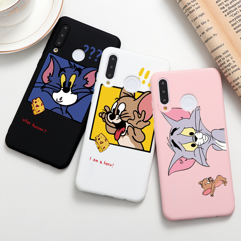 Cat And Mouse Case For Huawei P40 Lite E P20 P30 Pro P Smart 2020 Y9 Prime 2019 Y5p TPU Honor 9A X10 9S 8X 10I 20 10 Lite Fundas