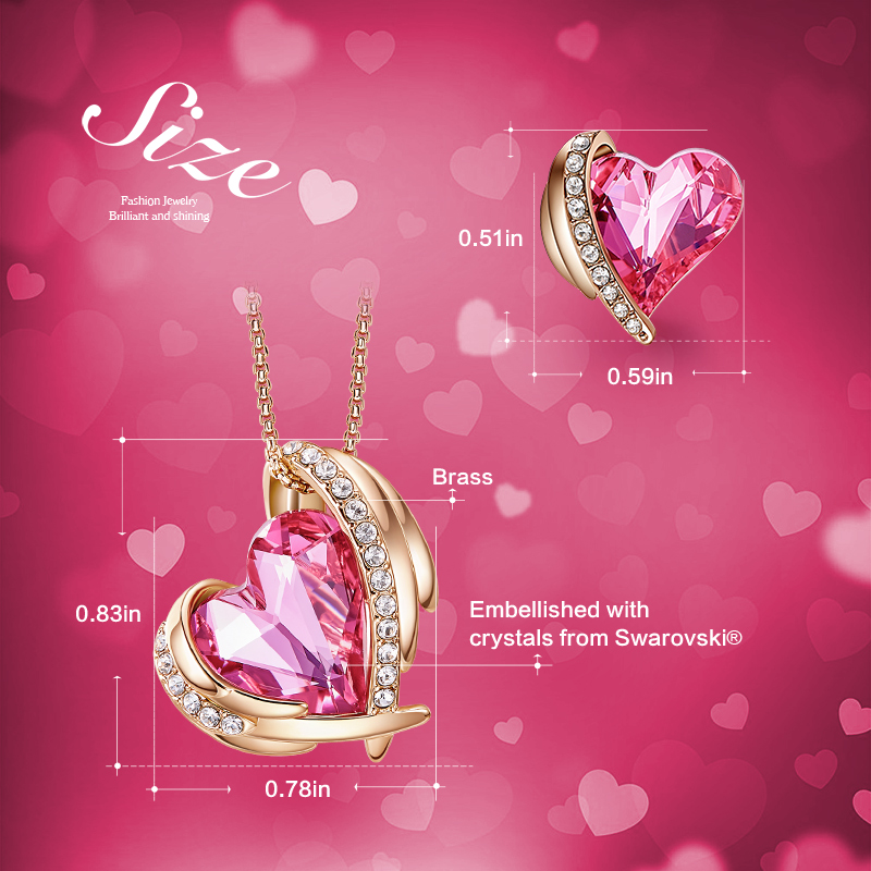 Image 3 - Cdyle Women Gold Jewelry Set Embellished with Red Crystal from  Swarovski Angel Rose Gold Necklaces and Earrings Gift for WomenJewelry  Sets