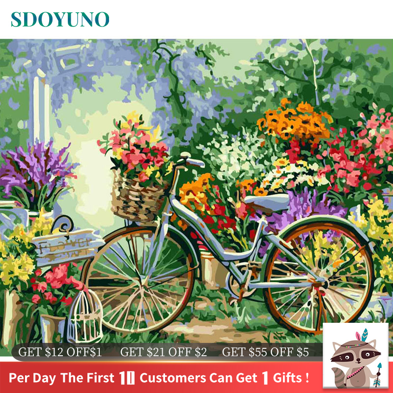 SDOYUNO acrylic paint by numbers For Adults Landscape Oil Painting By Numbers On Canvas Frameless 60x75cm DIY Home Decor(China)