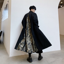 Men Vintage Pattern Splice Loose Casual Long Jacket Trench Coat Male Japan Stree