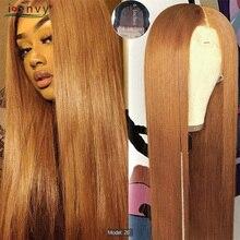 בלונדינית סגירת תחרה שיער טבעי פאות עבור נשים שחורות 4x4 #30 ombre שיער טבעי פאות ישר פרואני דבש בלונד פאות שאינו רמי