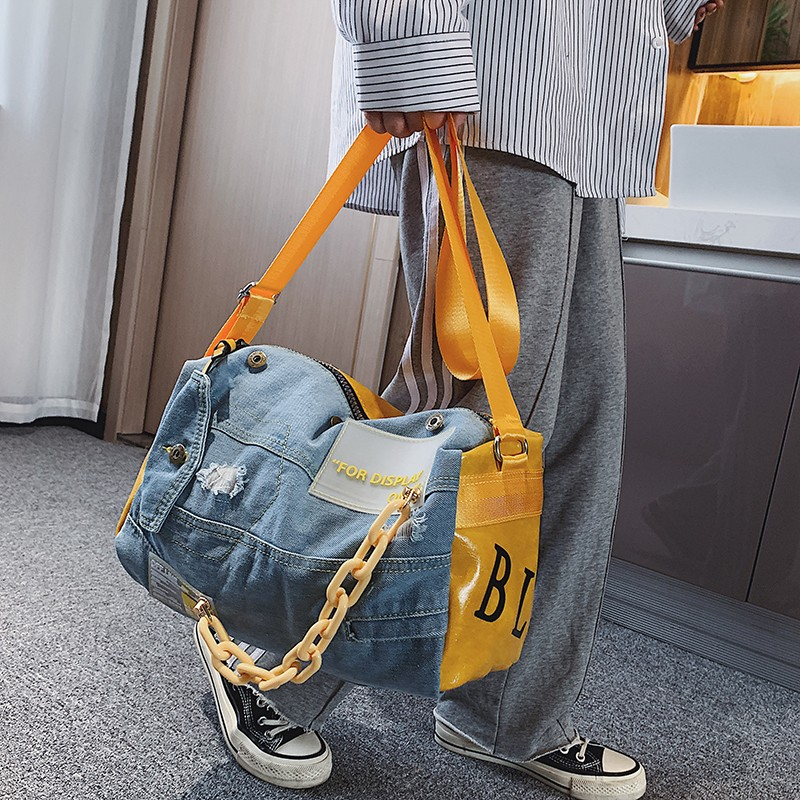 Fashion Oxford Travel Bag Women/men Hand Luggage Bags Case Big Travel Duffle Weekend Bag Male/female Denim Patchwork Gym Bags