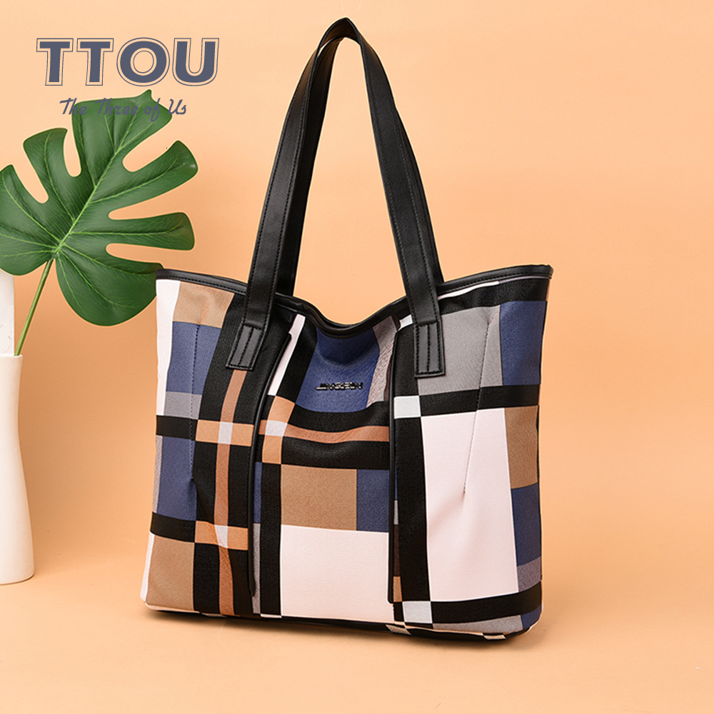 Casual Totes Winter PU Leather Handbag Patchwork Color Women Shoulder Bag High Capacity Plaid Pattern For Ladies Crossbody Bags