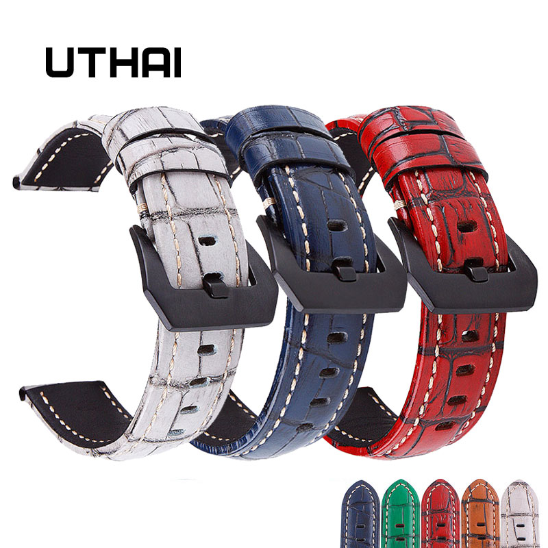 UTHAI P17 Genuine Leather Straps 20mm 22mm 24mm 26mm Classic Retro Watchband