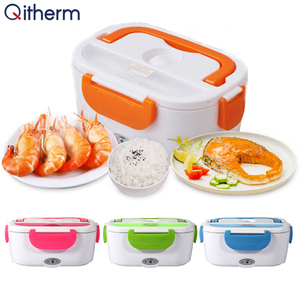 Electric Lunch Box With Spoon Portable Electric Heating Food Heater Rice Container Stainless Steel Liner Lunch Box For Office