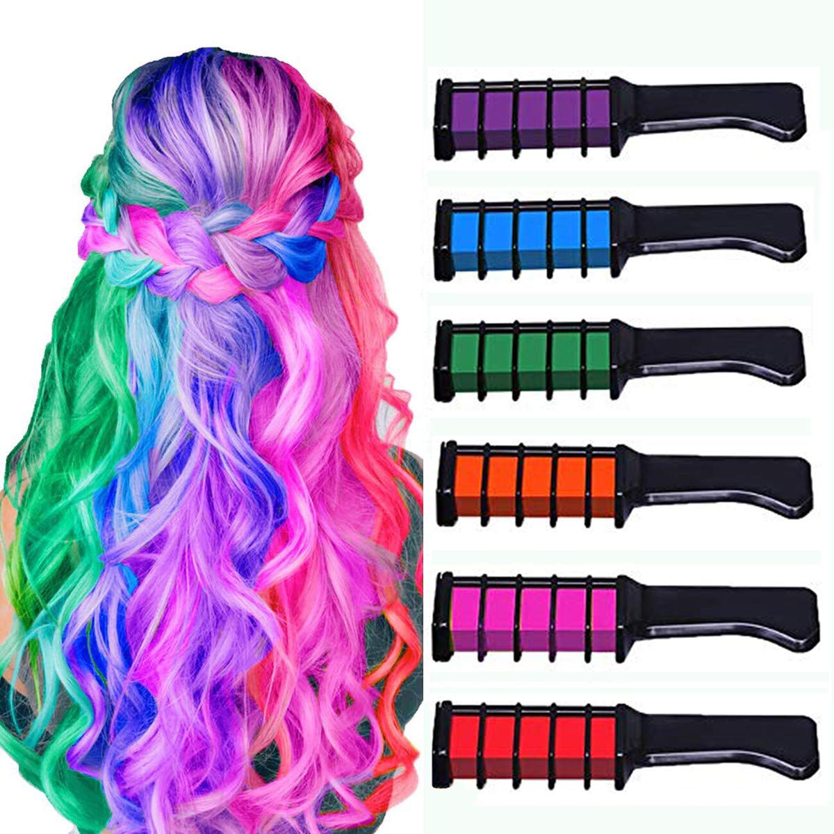 Temporary Hair Chalk Comb-Non Toxic Washable Hair Color Comb for Hair Dye-Safe for Kids for Party Cosplay DIY (6 Colors)