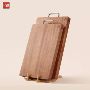 Original Huohou Wood Chopping Block For Meat Fruit Vegetable Bar Kitchen Tools Ebony Wood Thick Cutting Board S L(China)