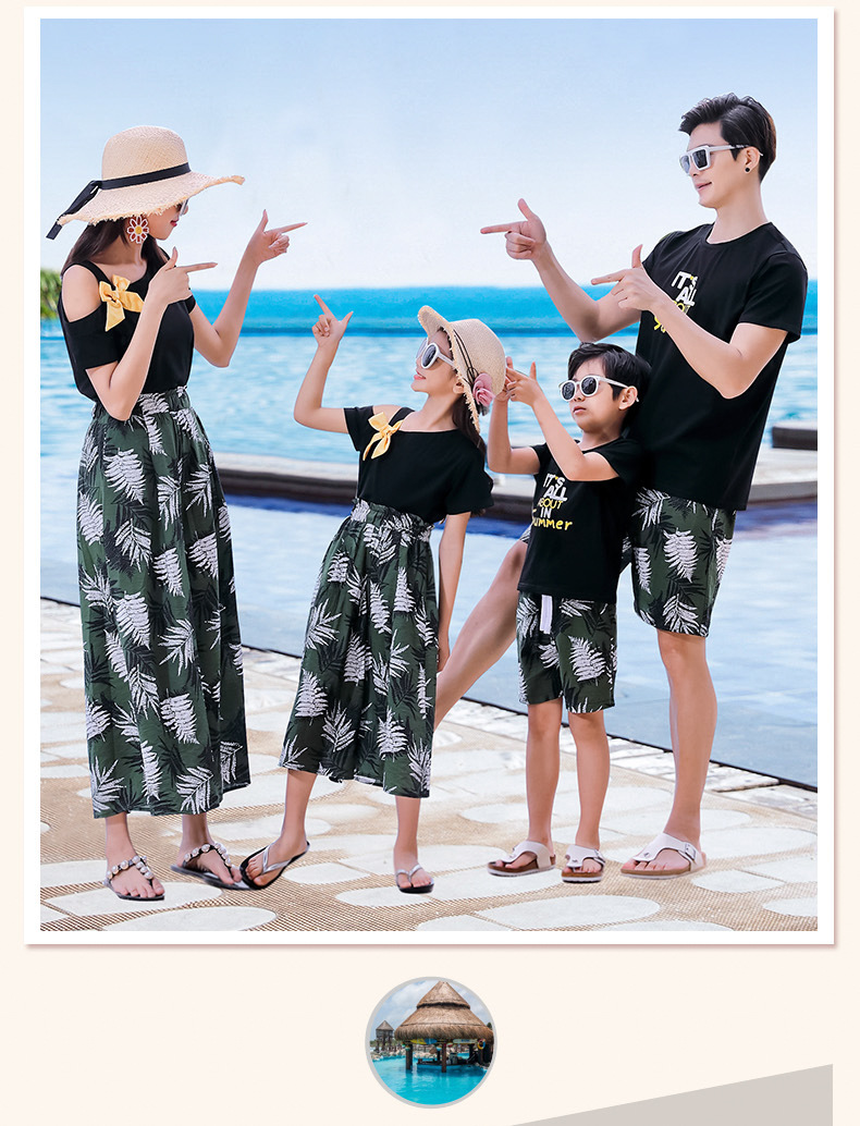 H972fd67b6f324570b83f04c3865eef29S - Matching Family Outfits Summer Mum Daughter Dad Son Cotton T-shirt +Pants Holiday Seaside Beach Couples Matching Clothing
