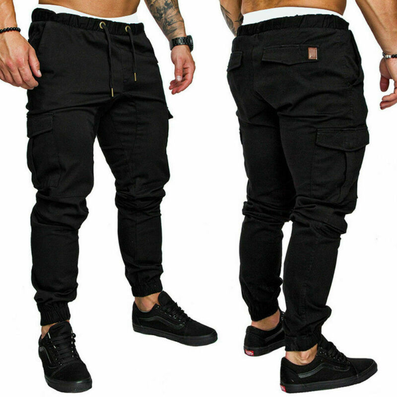 Men's Slim Fit Urban Straight Leg Trousers Casual Pencil Jogger Cargo Pants Jogger Hip Hop Elastic Sports Stretch M-3XL