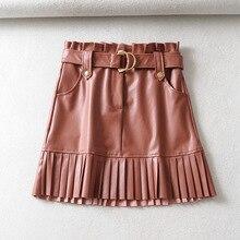 Осень-зима, юбки из искусственной кожи, плиссированные мини-юбки с высокой талией и поясом, женские юбки Faldas