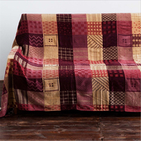 Christmas Decorations for Home 150cmX190cm Throw Blanket Vintage European Red Plaid Pattern Sofa Blanket Hand Wash