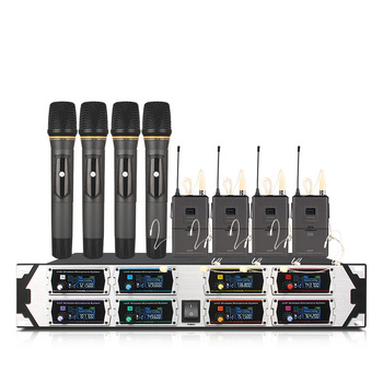 Professional wireless microphone U8000GTA2UHF8 channel fixed frequency dynamic display 4 headset 4 handheld microphone