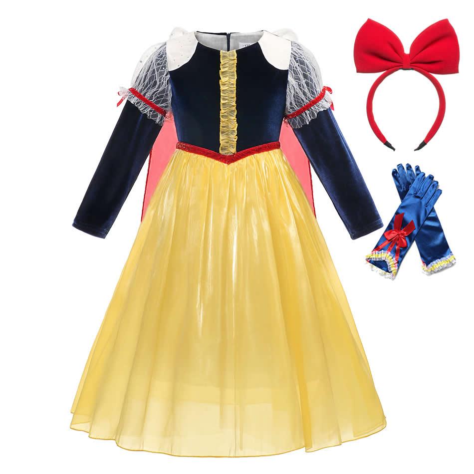 Vestido de Blancanieves para niñas, manga larga de Halloween, precioso vestido de encaje de terciopelo, disfraces de princesa de tul 2 3 4 5 6 años, regalo de cumpleaños