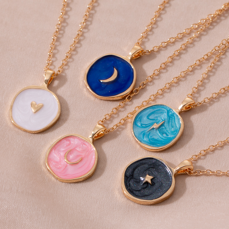 Delicate Moon Star Pendant Necklace for Women Cocktail Party Necklace Street Style Korean Fashion Necklace Jewelry Gifts(China)