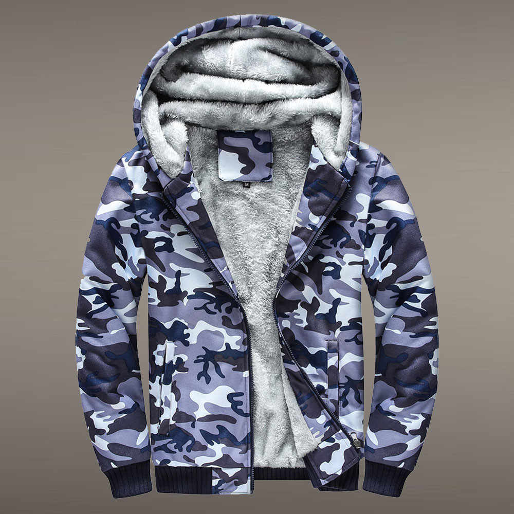 Heren Jassen Heren Camouflage Hoodie Winter Warm Fleece Rits Trui Jas Uitloper Jas Camouflage Hooded Jassen Plus Size