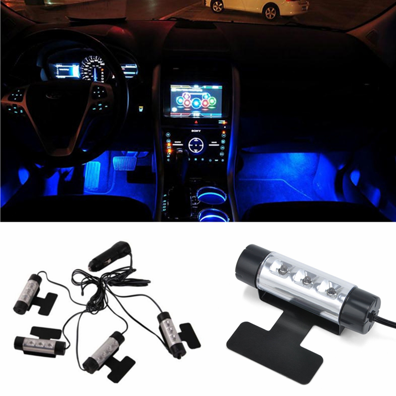 4in1 LED Car Interior Accessories Decoration Lights Atmosphere Lamp Auto Vehicle Interior Floor Parts Decorative Lights