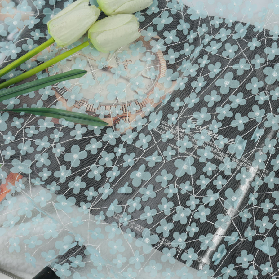 5 Yards New 3d Floret Laser Embroidery Mesh Wholesale Blue 3d Embroidery Flower Embroidery Fabric Spot