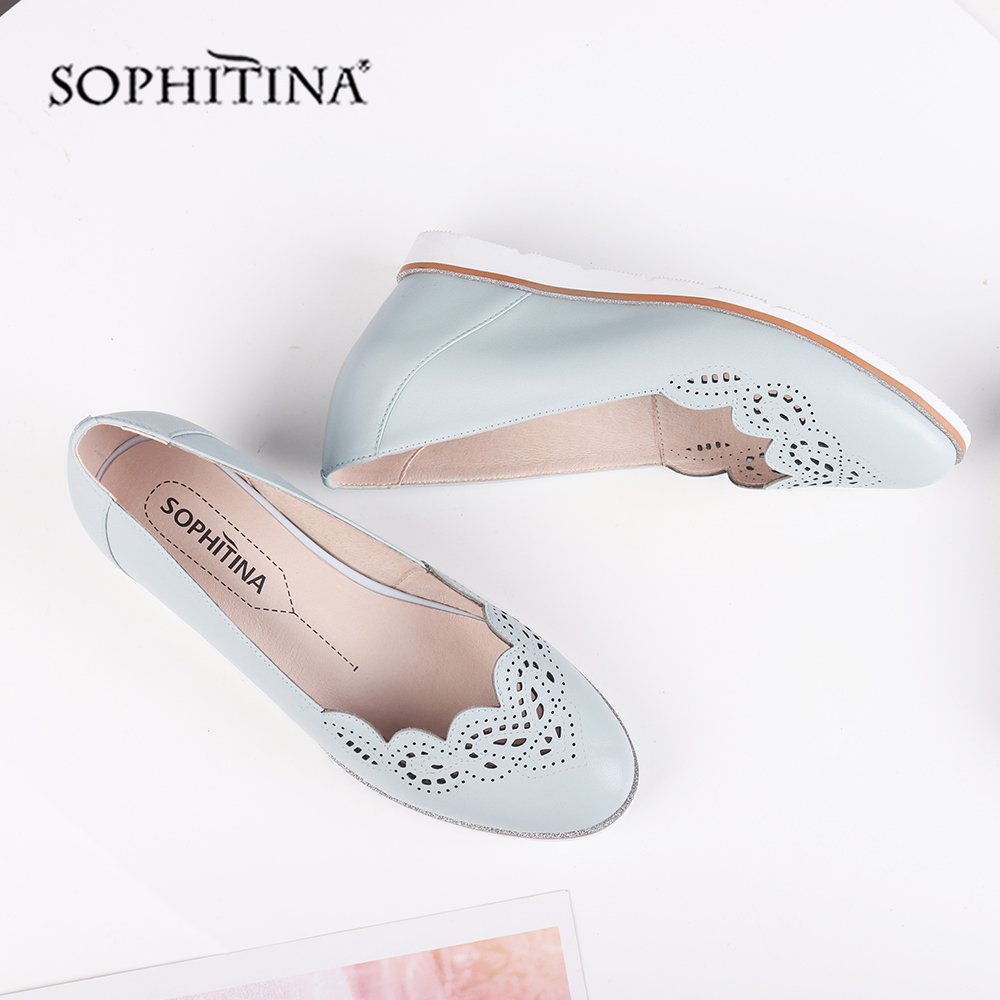 SOPHITINA Fashion Design Pumps High Quality Genuine Leather Comfortable Wedge Round Toe Handmade Shoes New Women's Boots C520