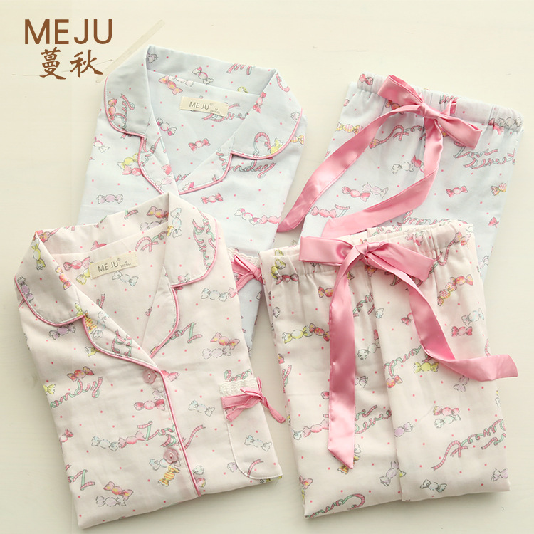 Spring And Summer New Products Women's 100% Cotton Gauze Long-sleeve Suit Pajamas