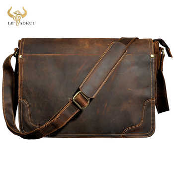 "New Fashion Leather Male Casual Messenger bag Satchel cowhide 13"" Laptop Bag School Book Cross-body Shoulder bag For Men 2088 - DISCOUNT ITEM  49 OFF Luggage & Bags"