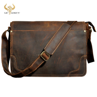 New Fashion Leather Male Casual Messenger bag Satchel cowhide 13 Laptop Bag School Book Cross body Shoulder bag For Men 2088