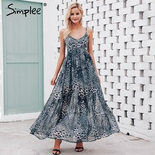 Simplee Sexy leopard women summer dresses Chiffon strap long evening party dress Vintage maxi vestidos de fiesta 2018(China)