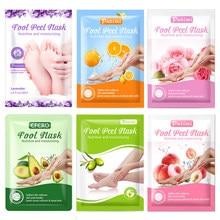 6 paquetes máscara eliminar la piel muerta pie pelado máscara para las piernas calcetines exfoliantes pedicura Anti grieta de talón nutritiva máscara