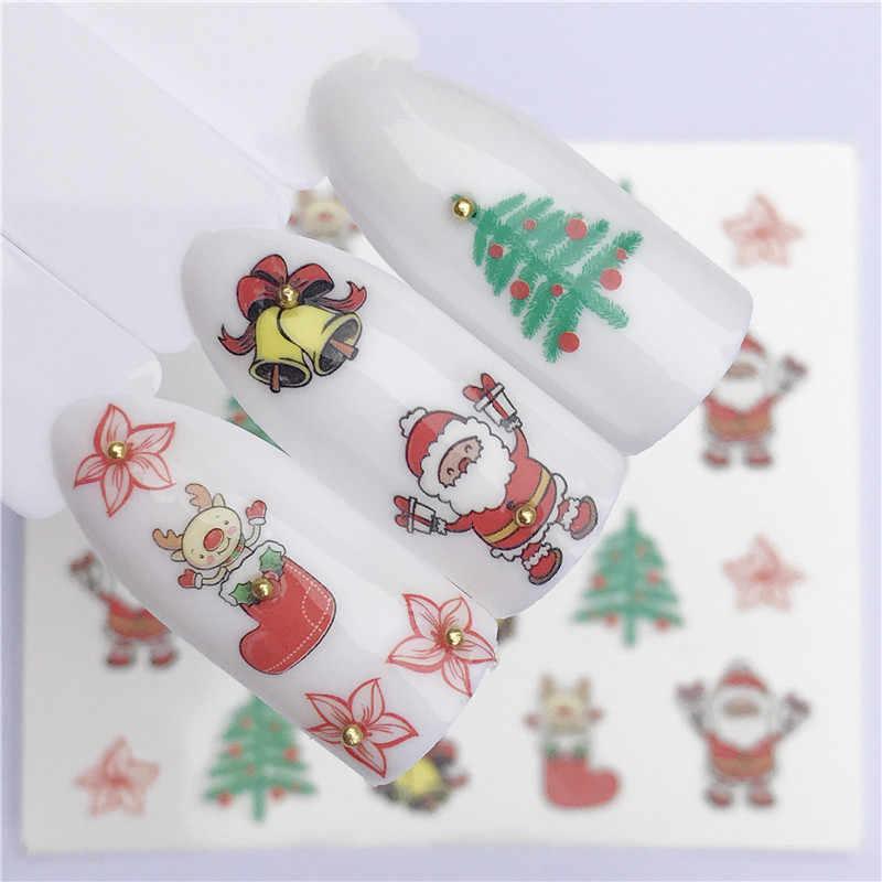 1 シートクリスマスステッカーネイルアートステッカーセット爪の装飾マニキュア水ヒント冬のデザイン箔