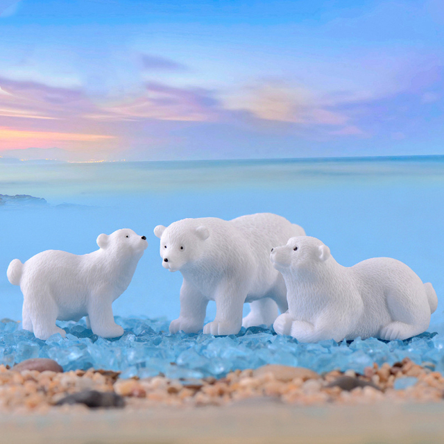 2019 modern lovely mini Polar bear home decor decoration home accessories miniature garden animals Resin figurine easter nordic 2