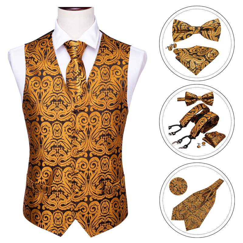 New Men/'s Formal Vest Tuxedo Waistcoat gold/_Bowtie wedding prom party