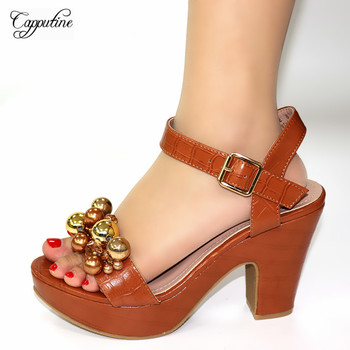 Graceful brown high heel shoes elegant lady sandals for party 245-1heel height 10.5cm 5 color