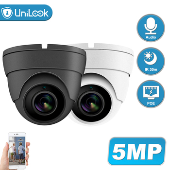UniLook 5MP Dome POE IP Security Camera Audio Built in Microphone Hikvision Compatible Outdoor CCTV Camera IR 30m H.265